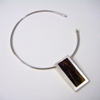 Sterling Silver necklace with interchangeable coconut wood inlay