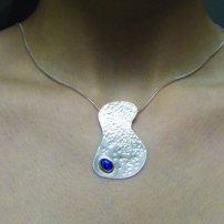 Sterling silver with synthetic blue opal necklace